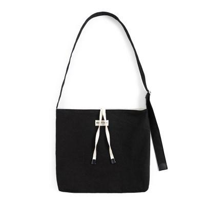 COTTON CRINKIE CROSS BAG (black)