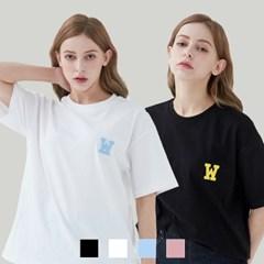 [1+1][단독구성] 아플리케로고 티셔츠 (4컬러)