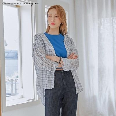 [커먼유니크] 메노아 체크 루즈 후드 셔츠_(2040524)