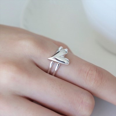 [Silver925] Two line lovely heart ring_(1557294)