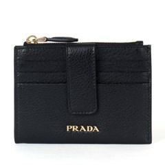 프라다 1MC026 비텔로 그레인 플랩 카드지갑 블랙