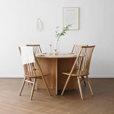[오크] A1형 V원형식탁/테이블 세트 : 레드오크 1200_(1754645)