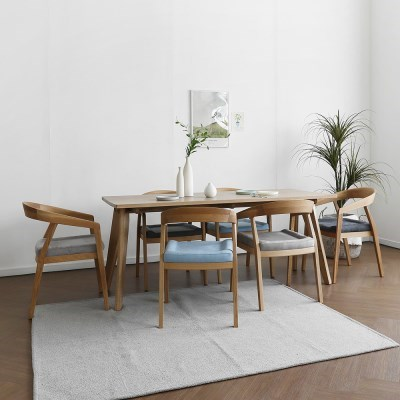 [오크] L3형 식탁/테이블 세트 : 화이트오크 1800_(1754646)