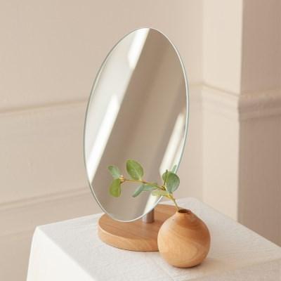 노프레임 우드 받침 탁상용 거울 테이블 화장 스탠드 인_(1440678)