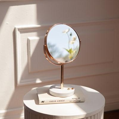 마블 대리석 360도 회전 골드 스탠드 양면 거울 탁상 화_(1440606)