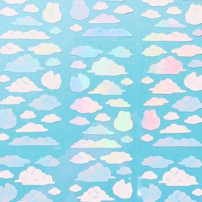 빛나는 몽실몽실 구름 칼선 스티커
