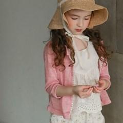 여아 유아 아동 키즈 봉 가디건 등원룩  핑크