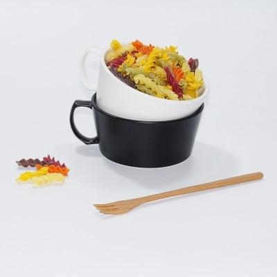 킴스아트 손잡이 라면기 1p 블랙 화이트 시리얼 그릇