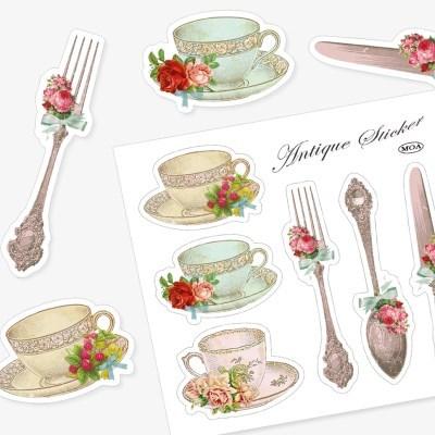 Antique Teacup-Fork Sticker
