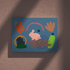 Bunny 블루 B2포스터, 아이방그림액자, 감성토끼액자