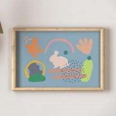 Bunny 블루 A3포스터, 아이방그림액자, 감성토끼액자