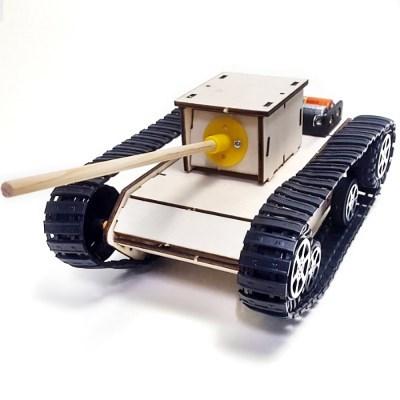 나무 DIY 조립 전기 동작 탱크