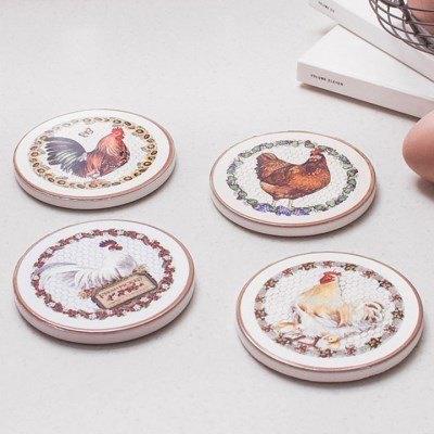 빈티지 닭 티코스터 4개 세트_(2211496)