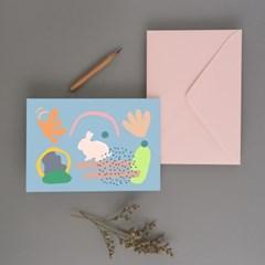Bunny블루 엽서, 감성토끼엽서, 엽서장식, 귀여운엽서장식