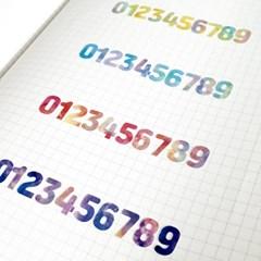 홀로그램 우주 숫자 씰스티커-4컬러