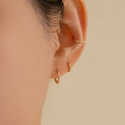 14k gold simple round onetouch ring earring (14k gold) a01
