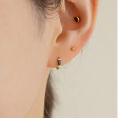 14k gold baguette cutting CZ onetouch earring piercing a09