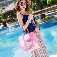아쿠아 방수 비치백(핑크) 물놀이 수영장가방