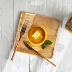 예쁜그릇 접시 그릇 우드 다용도 플레이트 22cm 사각 디작소