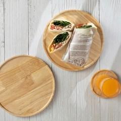예쁜그릇 접시 그릇 우드 다용도 플레이트 22cm 원형 디작소