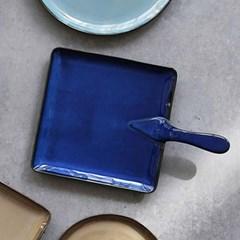 예쁜그릇 접시 그릇 사각 후라이팬 30cm 블루 디작소