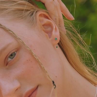 [silver925]green quartz earring