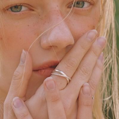 [오마이걸 비니 착용][silver925] X line open ring
