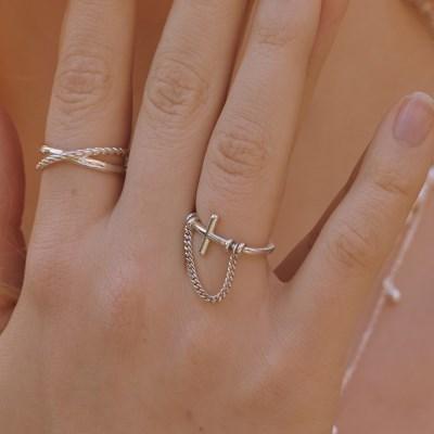 [silver925] Chrome chain ring