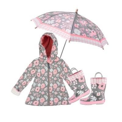 프린티드 레인3종 SET - 차콜플로럴 / 우비,우산,장화