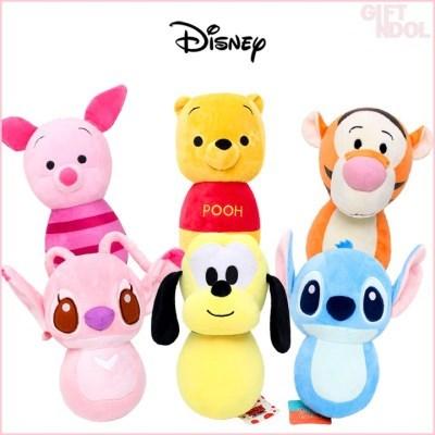 정품 디즈니 곰돌이 푸 스티치 오뚝이 봉제인형 25cm