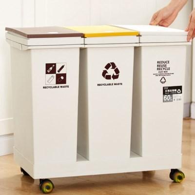 이동식 원터치 분리수거함 청소용품 대용량휴지통 40L