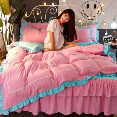 레이스 침구 매트리스 침대 베개 이불 커버 세트 핑크