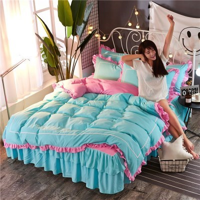 레이스 침구 매트리스 침대 베개 이불 커버 세트 블루