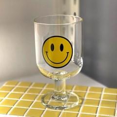 스마일 내열 유리잔 고블렛 잔 물컵