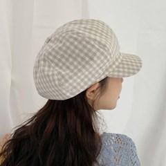깅엄체크 팔각모 여름 여성 뉴스보이캡 모자