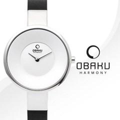 [본사정품]OBAKU 오바쿠 V149LCIRB 여성용 블랙 가죽 밴드 시계
