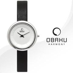[본사정품]OBAKU 오바쿠 V146LCIRB 블랙 가죽 밴드 시계