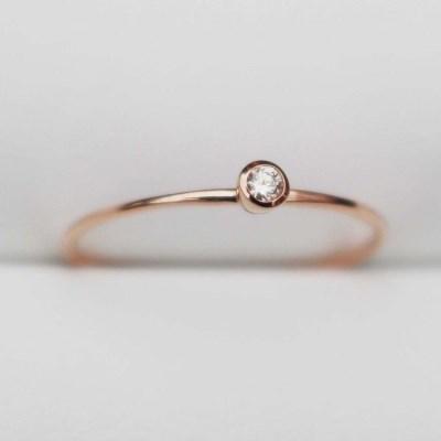 14K 꼬냑 다이아몬드1부 반지