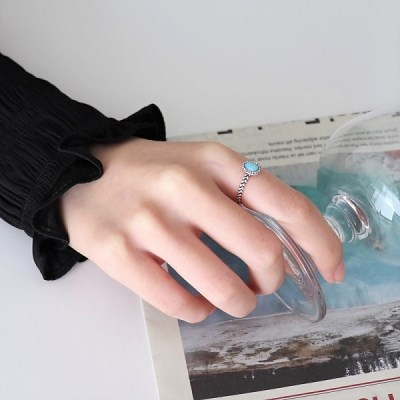 실버925 엔틱 매듭 블랙 블루 원석 반지_(1562430)