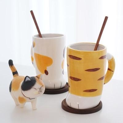 [피타] 홈카페 머그컵 2인조 귀여운 고양이발머그 선물세트