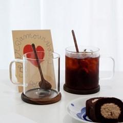 [피타] 홈카페 유리컵 2인조 선물세트(내열머그+받침+스푼+엽서)