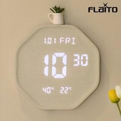 플라이토 루나 헥사곤 온습도 인테리어 LED 벽시계 크림