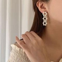 [귀찌가능] 셀프웨딩 신부 진주꽃 드롭 브라이덜 포인트 웨딩 귀걸이