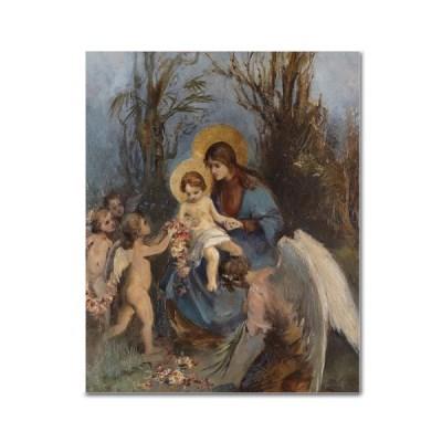 DIY 페인팅 - 성모마리아 아기예수와 천사 PR06 (40x50)_(1625586)