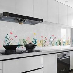 깔끔주방 오염방지 투명 시트지 2p세트(90x60m) (꽃)