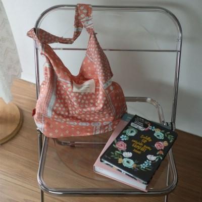 리버서블 양면 핑크패턴 호보백가방
