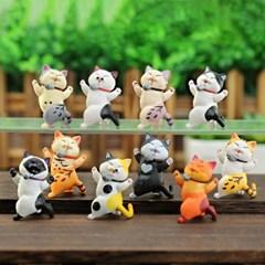 귀여운 춤추는 고양이 피규어 미니어처 10종세트