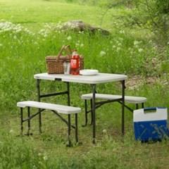 라이프타임 접이식 야외 테이블 의자 세트 T80352 / 캠핑 베란다