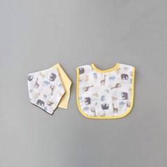 꿈두부 아기 초원의친구들 패턴턱받이 거즈스카프빕 3개세트
