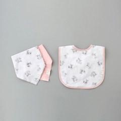 꿈두부 아기 느릿느릿코알라 패턴턱받이 거즈스카프빕 3종세트